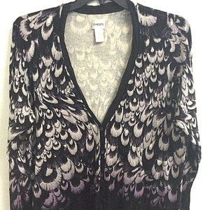 Chicos Peacock Sweater Purple Black Cardigan XL 3